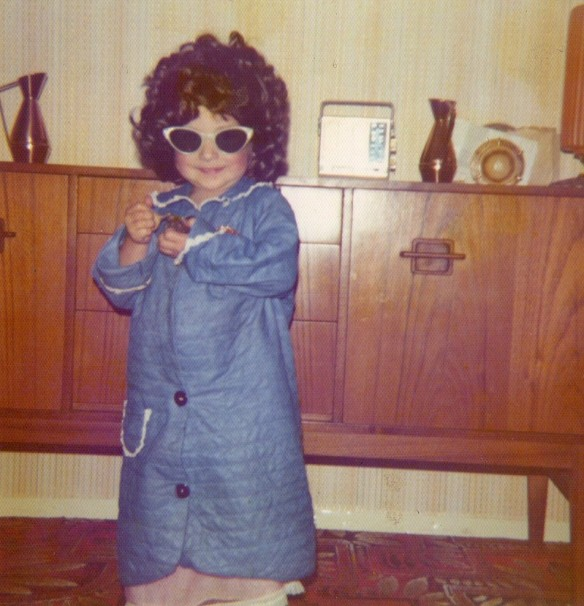Wearing my Nanny's wig and sunglasses.